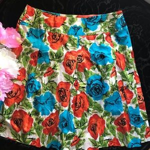 Talbots Floral Skirt Sz 16 (N40)